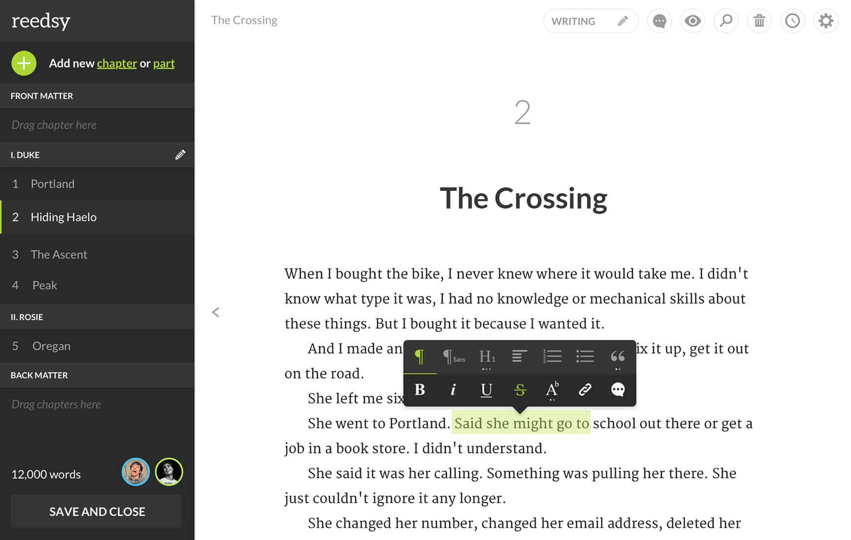 The Reedsy theme, a professionally typeset print template available in the Reedsy book editor