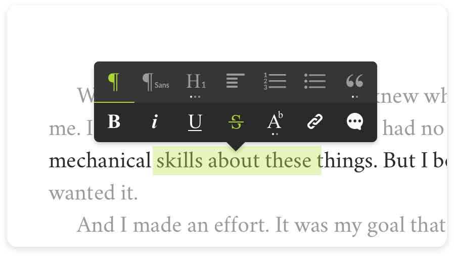 The Reedsy Book Editor writing interface, with a simple style guide toolbar