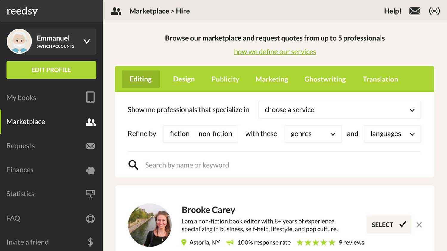How to find editors, book designers and marketers on the Reedsy marketplace.